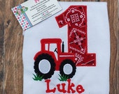 Tractor Applique Birthday Shirt, Farm Birthday Party Shirt, Personalized Embroidered Farm Birthday Shirt with Tractor
