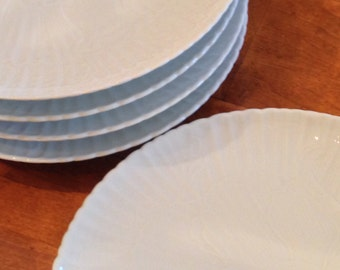 White Embossed Dinner Plates - Set of Five