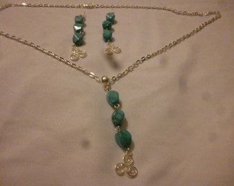 Turquoise howlite and celtic Triskelion necklace and earring set number 2