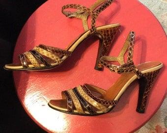 Vintage 1970's Snakeskin Strappy Sandals~Sz. 5.5~Sexy Heels