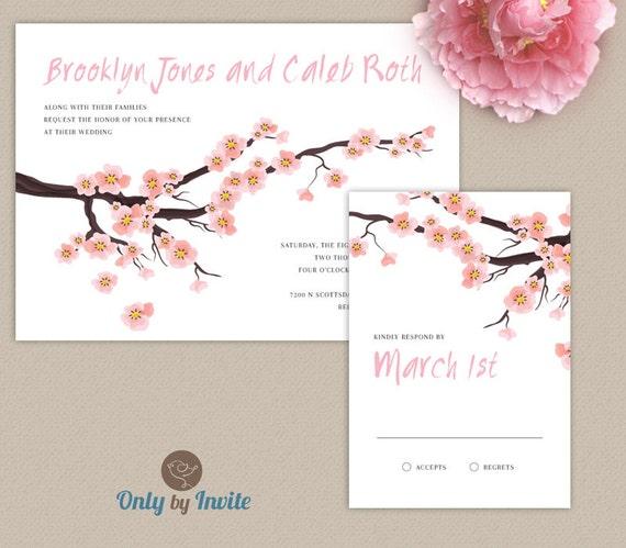 wedding invitation and rsvp card set printed elegant pink cherry