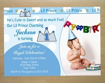 Prince 1st Birthday Invitation - Digital File (Printing Services Available)