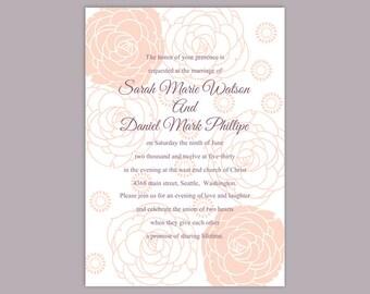 wedding invitation template download printable wedding invitation editable invitations peach floral invitation rose wedding invite diy - Peach Wedding Invitations