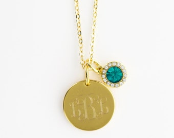 Monogrammed Birthstone Necklace, Birthday Necklace, Birthstone Necklace, Monogrammed Birthstone Necklace, Bridesmaid Jewelry