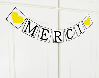 FREE SHIPPING, Merci banner, Bridal shower banner, Wedding banner, French wedding, Engagement party decoration, Wedding signs, Photo prop