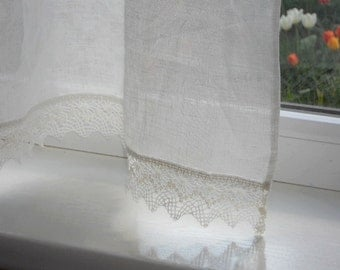 Lightweight Kitchen Curtains With Lace Edge Trim, Natural White Linen Cafe  Curtain Panel, Shabby