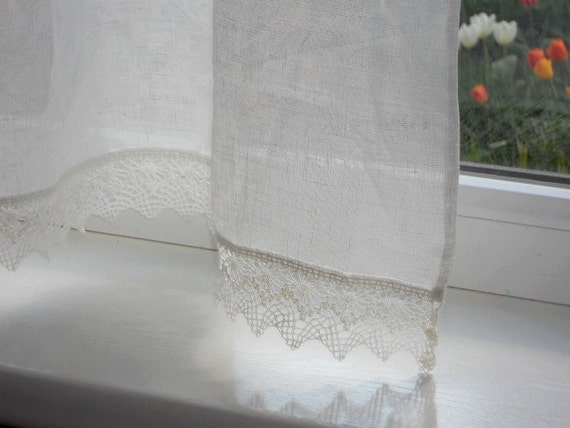 Linen cafe curtain panel with lace edge trim natural white