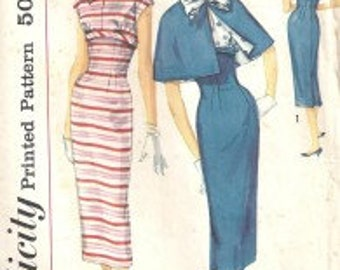 Vintage Simplicity Misses' One-Piece Dress and Cape Pattern #1907 Size 14
