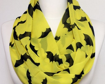 Bat Pattern Infinity Scarf, Circle Scarf, Wide Scarf, Geek Scarves, Spring - Summer - Fall - Winter Session Sale
