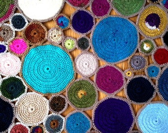 Handmade Crocheted Colourful Table Runner and Six Coasters