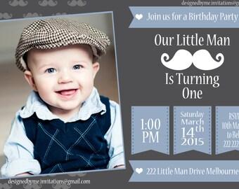 Little Man Birthday Invitation - DIY Printing - JPEG File