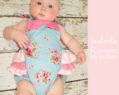 Baby sewing pattern pdf, romper sewing pattern, sunsuit pattern, ruffle romper, diaper cover pattern, baby clothing pattern, ISABELLA