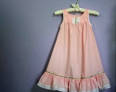 Girls Summer Nightgown, sleeveless Ballet Pink or White cotton-poly sizes 2,3,4,5,6