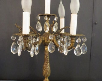 Brass, crystal and marble lamp