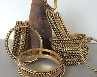 24K Gold Plated Braided Bangle Bracelets, 2Pcs