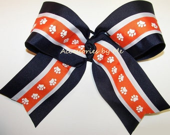 Bulk Cheer Bow, Blue Orange Dance Clip, Navy Blue White Orange Paw Print Alabama Auburn Spirit Softball Volleyball Bows, Cheerleader Bows