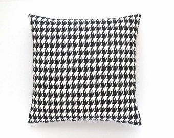 "Decorative Houndstooth Pillow Cover - Black and White - 20"" x 20"" - Throw Pillow, Pillow Cover, Black and White Pillow"