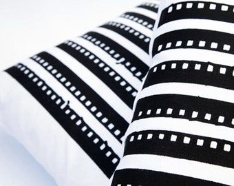 Black Lines - Hand Screen Printed Cushion Cover - by Mileseed