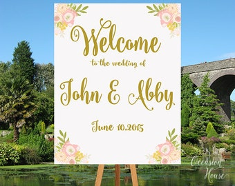 Wedding Welcome Sign, Wedding Reception Sign, Printable Wedding Welcome Poster, Gold and Blush Wedding, Gold Metallic Wedding, WS011