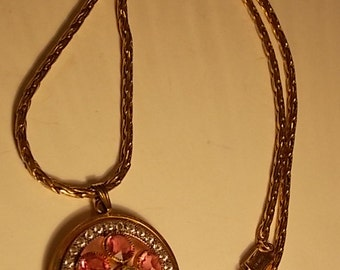 Vintage Gold Filled Chain and Pendant With Pink and White Rhinestones
