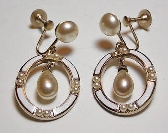 Vintage Faux Pearl Dangle Earrings