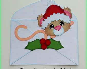 Elite4u MindyChristmas Mouse in Envelope Premade paper piecing for scrapbook page album embellishment