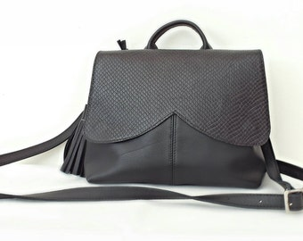 Black leather bag, tote, crossbody, women,free shipping
