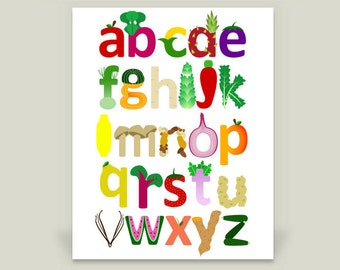 Vegetable & Fruit Alphabet Print, Children's Art for Nursery or Kid's Room