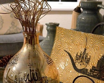 Glass gold vase. With arabic calligraphy writings.