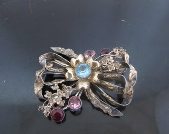 Hobe Sterling Silver and 14k Gold Vintage Bow Brooch with Colorful Rhinestones