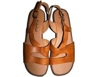 Vintage 90s Sandals, Strappy Sandals, Leather Sandals, Brown Sandals, Leather Craft, Women's Size 9.5 Sandals - Women's Size 9.5 Shoes
