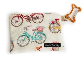 Dog Bag Holder & Treat Pouch, Bicycles, Dog Bag Dispenser, Puppy Purse - Flower Basket Bikes