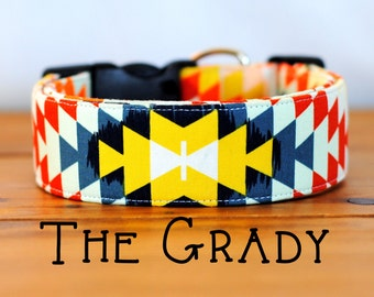 """Modern Colorful Aztec Inspired Dog Collar """"The Grady"""""""