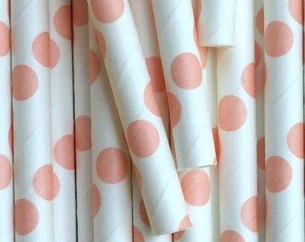 25 Light Orange Polka Dots Drinking Straws - Party Decor Supplies Tableware
