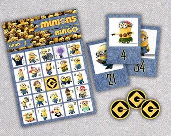 MINIONS Printable Birthday Party Bingo Game - ADDITIONAL SET - cards 11-20