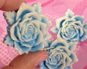 Pastel Goth Sweet Lolita Fairy Kei Big Blue Rose Adjustable Ring
