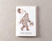 Sasquatch Letterpress Birthday Card