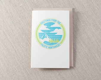 Greetings from the Pacific Northwest Letterpress Greeting Card