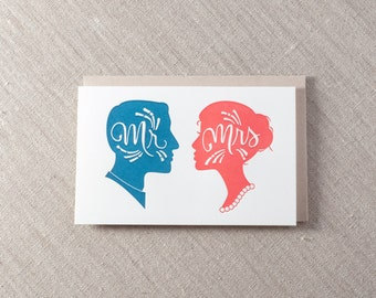 Mr and Mrs Wedding Letterpress Greeting cards Seattle