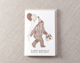 Sasquatch Letterpress Birthday Card