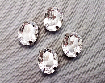 Clear, 8x10mm Sew On Oval Swarovski Rhinestones, 4130/2, Set of 4 - Clear 4 holes, Choice of silver or gold settings