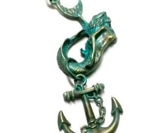 Mermaid Necklace Steampunk Patina Sea Maiden Anchor Handmade Gift