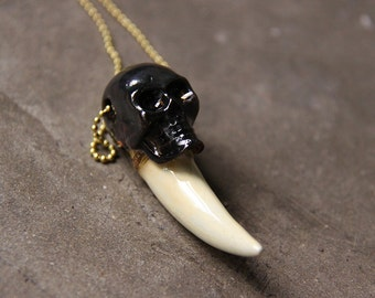 Skull with Tiger Fang Hand Painted Version Necklace