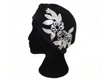Turban Hat Head Wrap with Shiny Silver Flower Applique