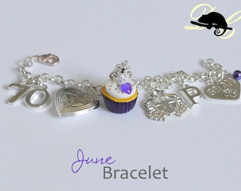 Your JUNE Birthday Bracelet - Cupcake with candle, birthstone,letter,locket, and zodiac charm - Personalised (In Stock)