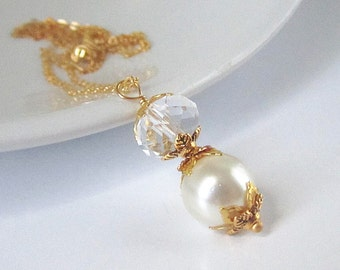 Ivory Pearl Necklace, Crystal Bridal Jewellery, Gold Bridesmaid Necklace, Ivory Wedding, Pearl Bridal Sets, Bridesmaid Earrings,