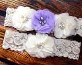 Your Color , Lavender Wedding Garter Set , Garter Set , Ivory and Lavender Garter , Garter , Toss Garter , Garter Set , Bridal Garter