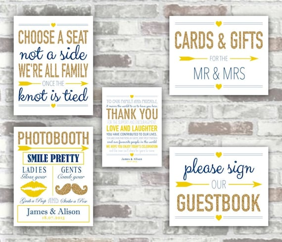 PRINTABLE WEDDING COLLECTION - Gold, Navy and Yellow Wedding Signs Photobooth, Thank You, Cards & Gifts, Guestbook, Choose a seat - Digital