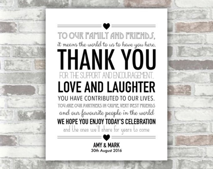 PRINTABLE Digital File - Wedding Thank You Sign 8x10 - Black - Place Setting Table Decor Wedding Guests - 8x10