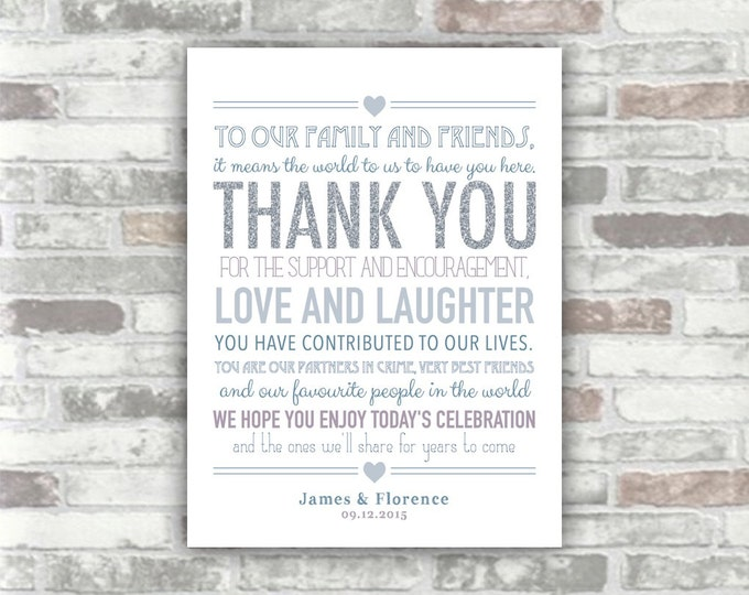 PRINTABLE Digital File - Personalised Wedding Thank You Sign Thankyou Table Decor Place Setting - Silver Glitter Grey Gray Blue Purple - 6x8